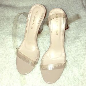 Shoes - Nude/Clear Strap Heel